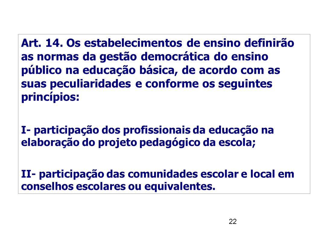 22 Art. 14. Os estabelecimentos de ensino definirão as normas da gestão democrática do ensino público na educação básica, de acordo com as suas peculi