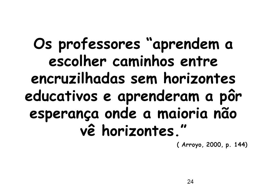 """24 Os professores """"aprendem a escolher caminhos entre encruzilhadas sem horizontes educativos e aprenderam a pôr esperança onde a maioria não vê horiz"""