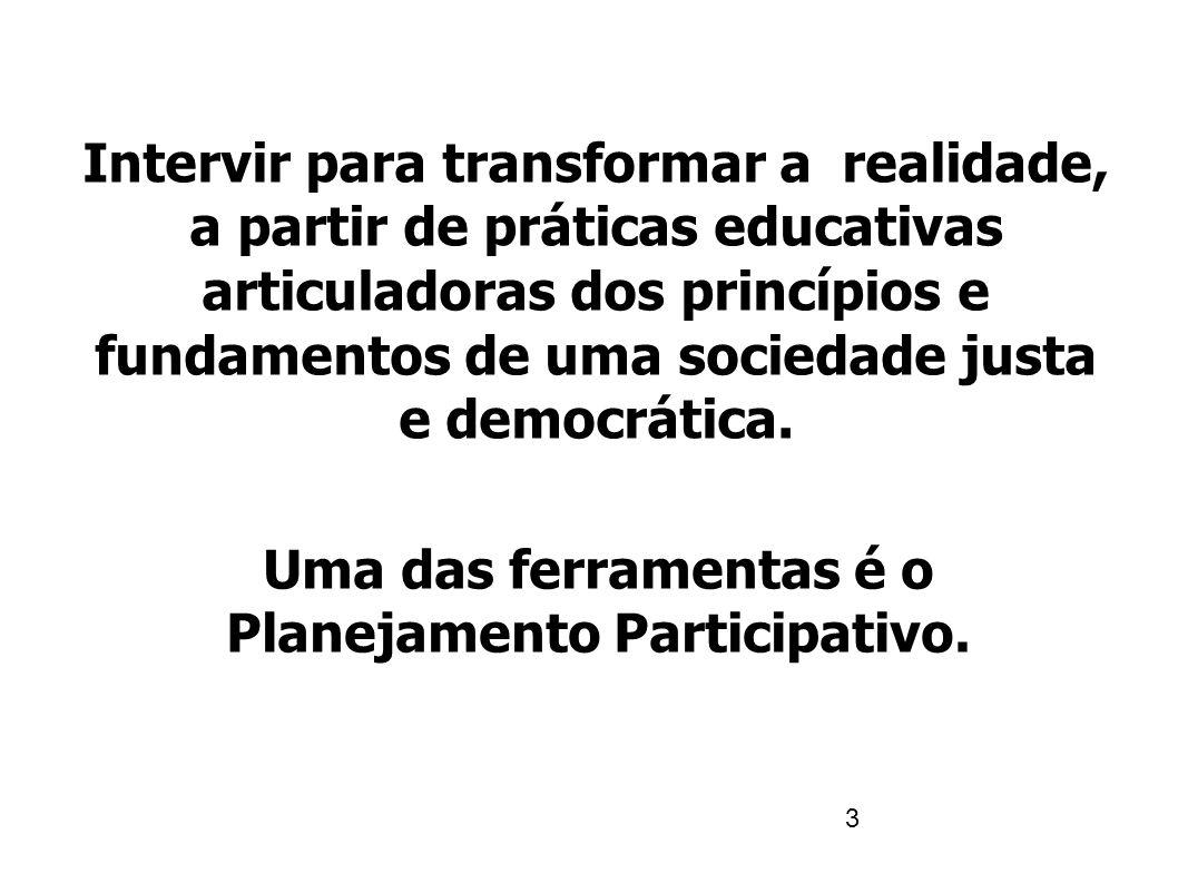 4 O planejamento participativo parte de uma leitura do nosso mundo na qual é fundamental a ideia de que nossa realidade é injusta e de que a injustiça se deve à falta de participação em todos os níveis e aspectos da atividade humana.