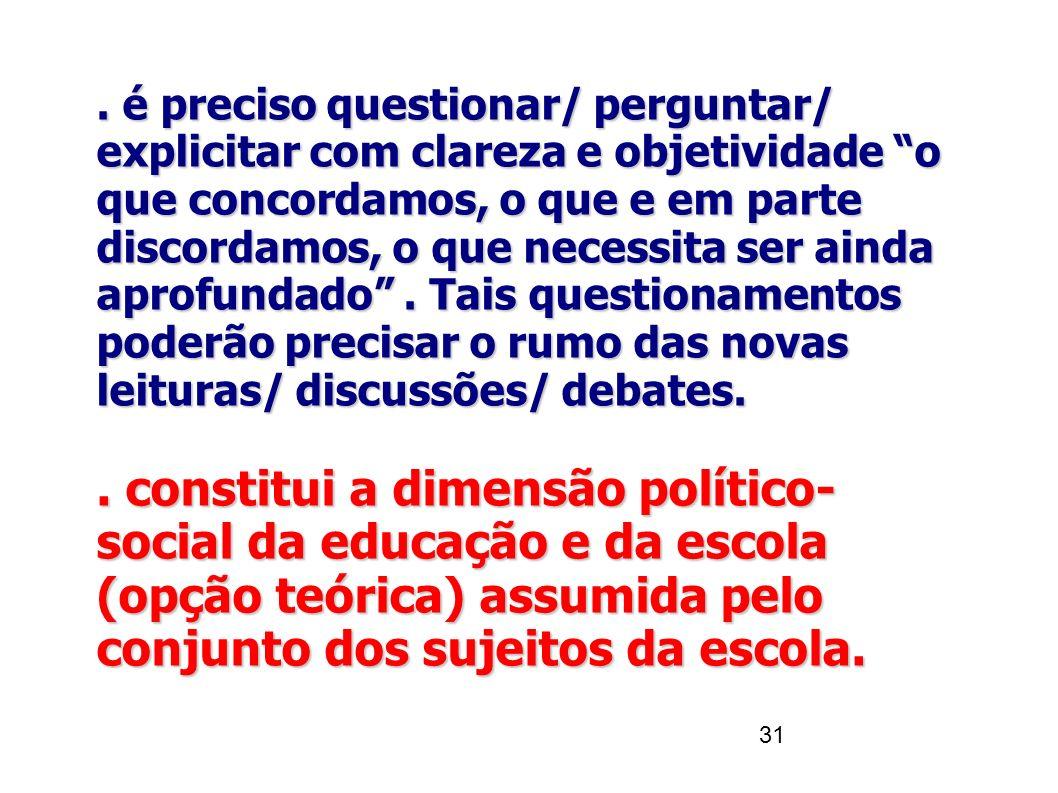 """31. é preciso questionar/ perguntar/ explicitar com clareza e objetividade """"o que concordamos, o que e em parte discordamos, o que necessita ser ainda"""