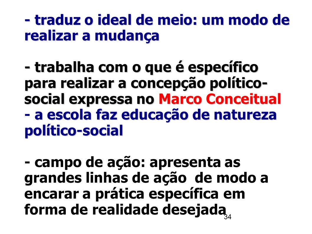 34 - traduz o ideal de meio: um modo de realizar a mudança - trabalha com o que é específico para realizar a concepção político- social expressa noMar