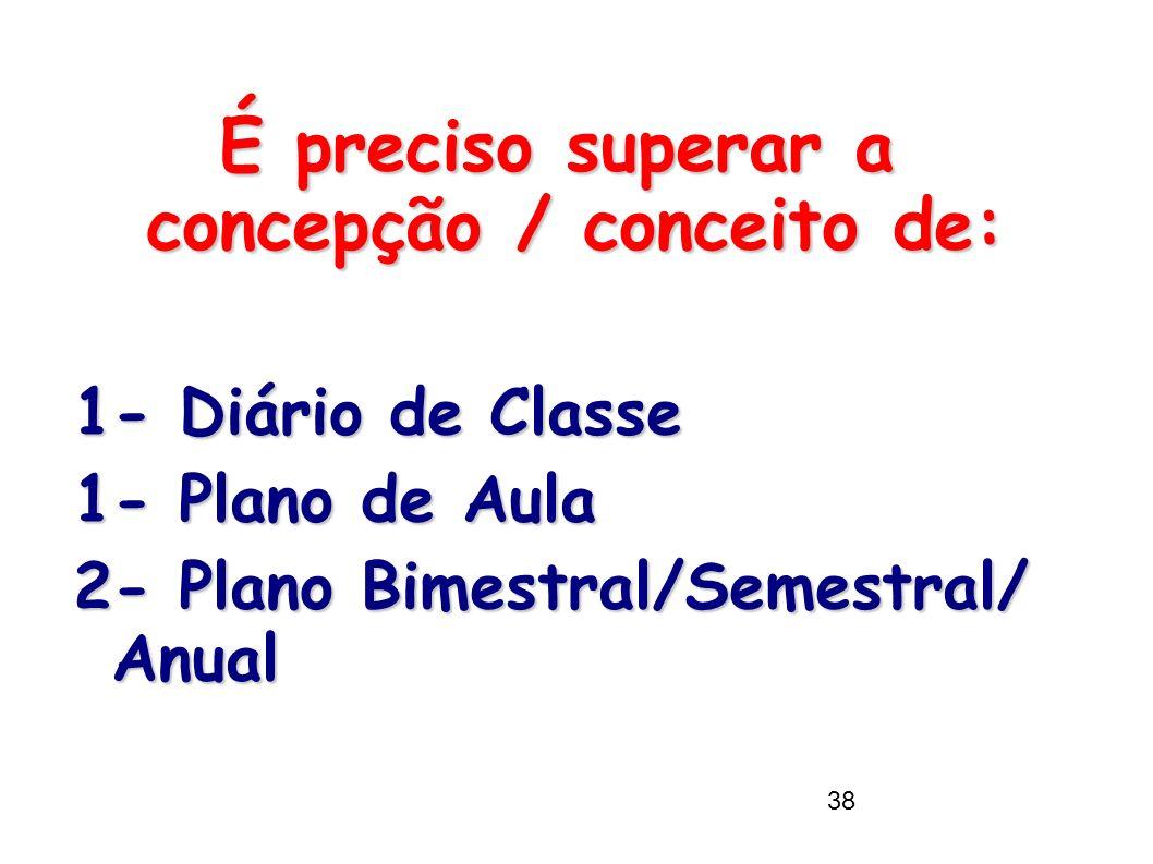 38 É preciso superar a concepção / conceito de: 1- Diário de Classe 1- Plano de Aula 2- Plano Bimestral/Semestral/ Anual