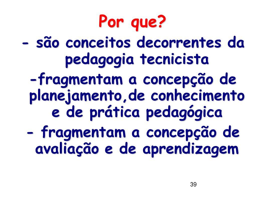 39 Por que? - são conceitos decorrentes da pedagogia tecnicista -fragmentam a concepção de planejamento,de conhecimento e de prática pedagógica - frag