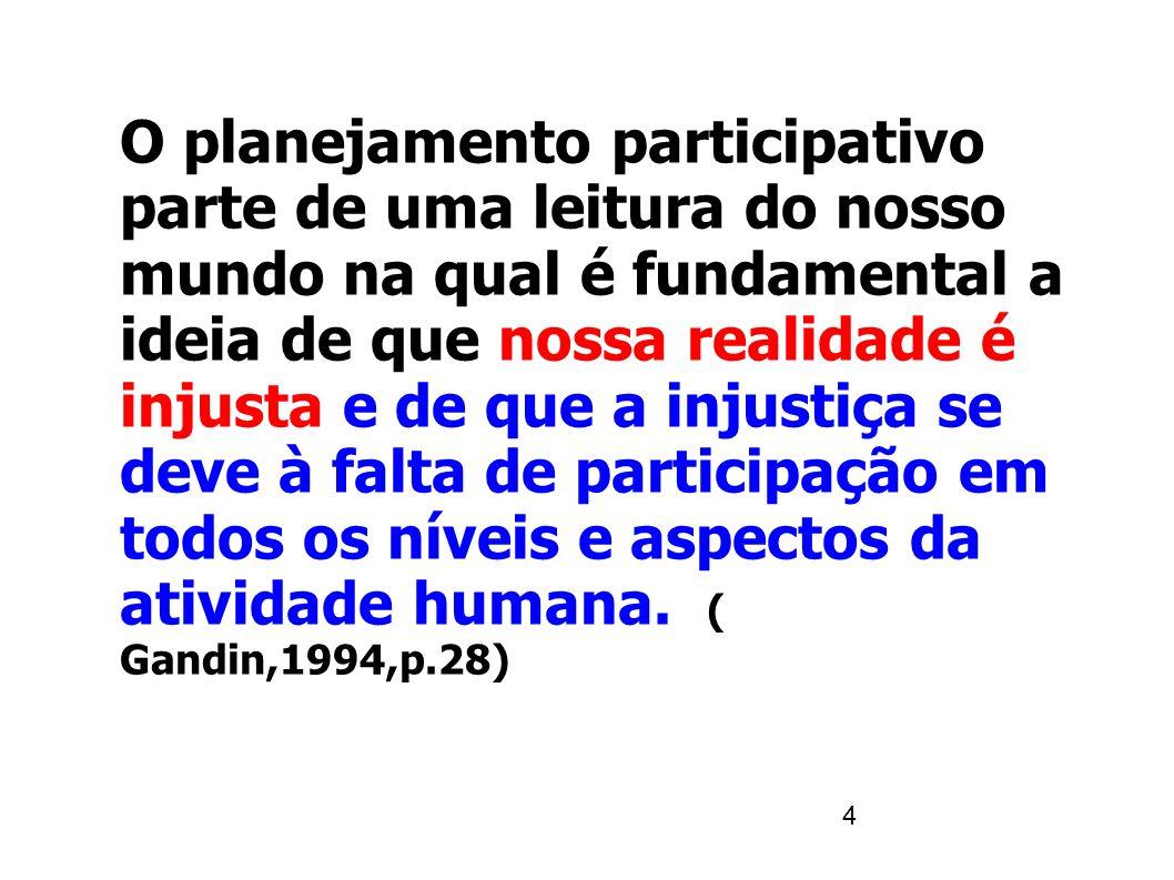 5 ASSIM: -a instauração da justiça social passa pela participação e todos no poder.