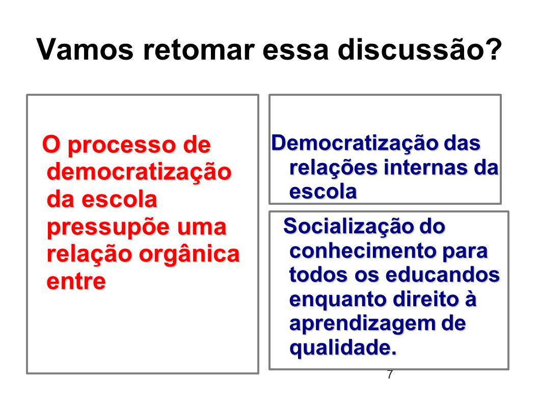 7 Vamos retomar essa discussão? O processo de democratização da escola pressupõe uma relação orgânica entre O processo de democratização da escola pre