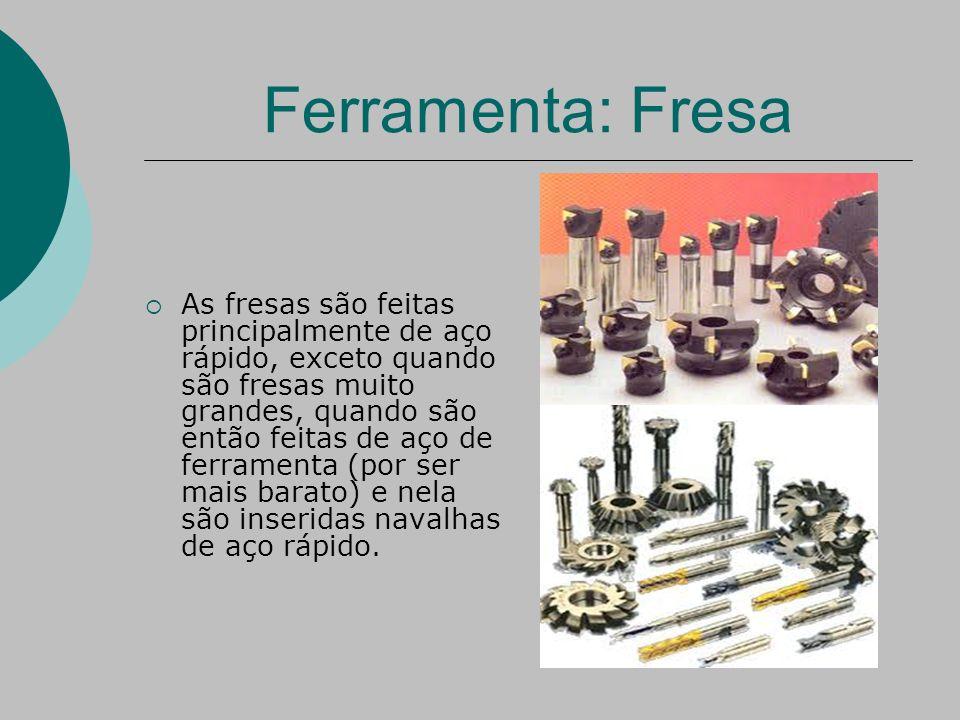 Ferramenta: Fresa  As fresas são feitas principalmente de aço rápido, exceto quando são fresas muito grandes, quando são então feitas de aço de ferramenta (por ser mais barato) e nela são inseridas navalhas de aço rápido.