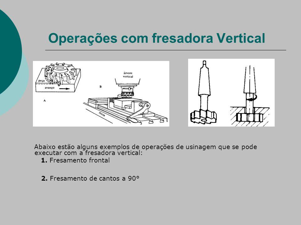 Operações com fresadora Vertical Abaixo estão alguns exemplos de operações de usinagem que se pode executar com a fresadora vertical: 1.
