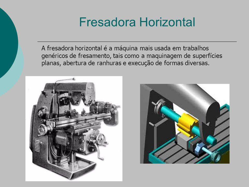 Fresadora Horizontal A fresadora horizontal é a máquina mais usada em trabalhos genéricos de fresamento, tais como a maquinagem de superfícies planas, abertura de ranhuras e execução de formas diversas.
