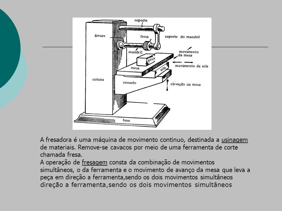 A fresadora é uma máquina de movimento continuo, destinada a usinagem de materiais.