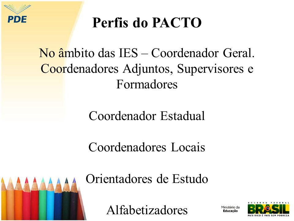 Perfis do PACTO No âmbito das IES – Coordenador Geral. Coordenadores Adjuntos, Supervisores e Formadores Coordenador Estadual Coordenadores Locais Ori