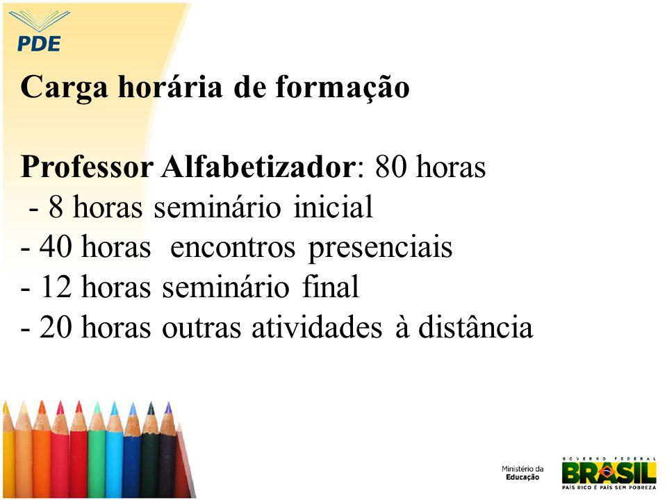 Carga horária de formação Professor Alfabetizador: 80 horas - 8 horas seminário inicial - 40 horas encontros presenciais - 12 horas seminário final -