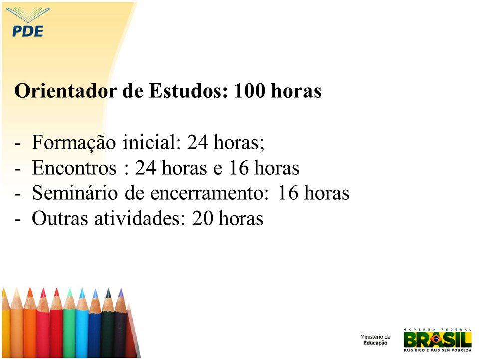 Orientador de Estudos: 100 horas - Formação inicial: 24 horas; - Encontros : 24 horas e 16 horas - Seminário de encerramento: 16 horas - Outras ativid