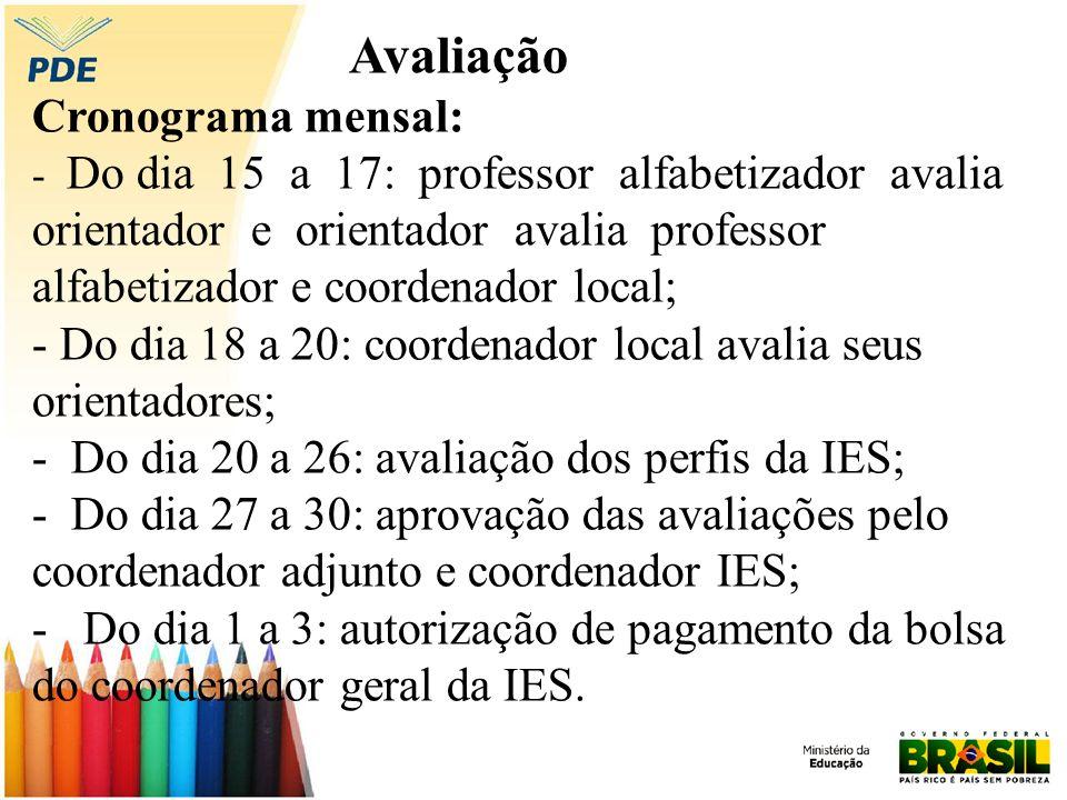 Avaliação Cronograma mensal: - Do dia 15 a 17: professor alfabetizador avalia orientador e orientador avalia professor alfabetizador e coordenador loc