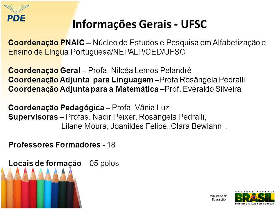 Informações Gerais - UFSC Coordenação PNAIC – Núcleo de Estudos e Pesquisa em Alfabetização e Ensino de Língua Portuguesa/NEPALP/CED/UFSC Coordenação