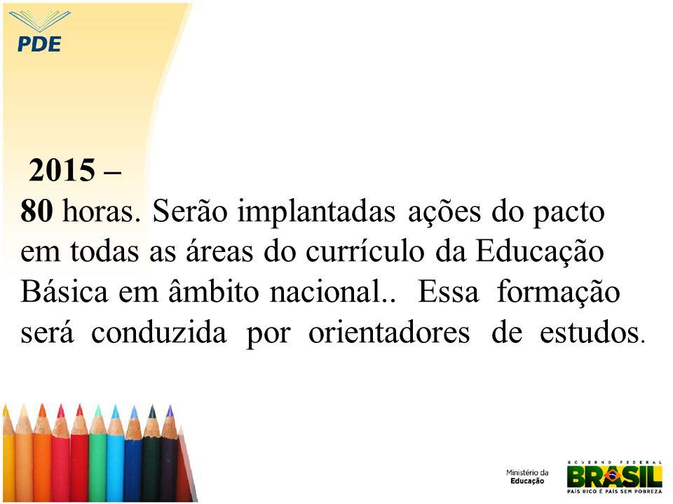 2015 – 80 horas. Serão implantadas ações do pacto em todas as áreas do currículo da Educação Básica em âmbito nacional.. Essa formação será conduzida