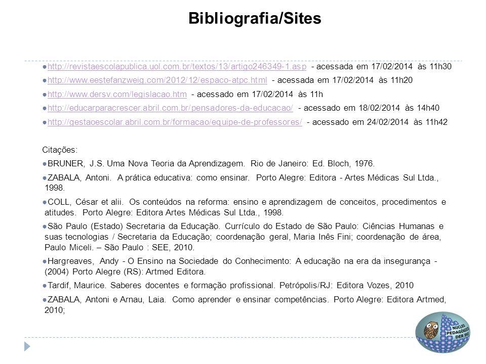 Bibliografia/Sites ●http://revistaescolapublica.uol.com.br/textos/13/artigo246349-1.asp - acessada em 17/02/2014 às 11h30http://revistaescolapublica.u