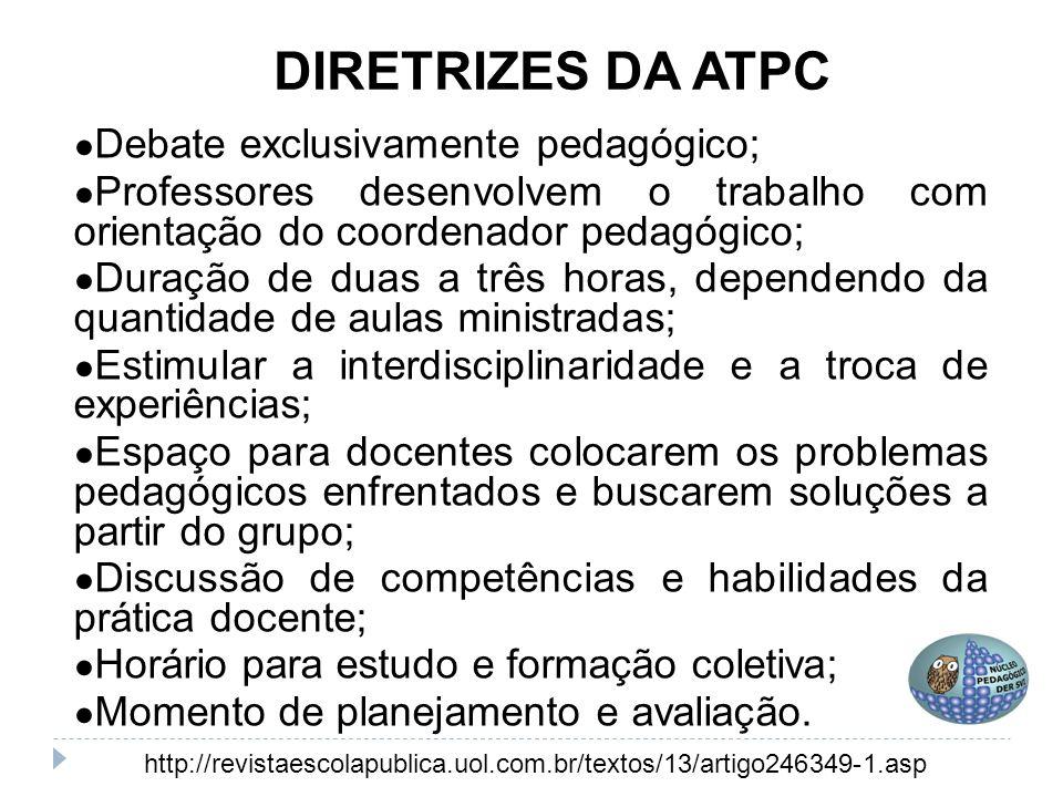 DIRETRIZES DA ATPC ● Debate exclusivamente pedagógico; ● Professores desenvolvem o trabalho com orientação do coordenador pedagógico; ● Duração de dua