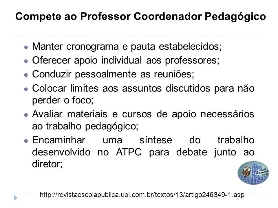 Compete ao Professor Coordenador Pedagógico ● Manter cronograma e pauta estabelecidos; ● Oferecer apoio individual aos professores; ● Conduzir pessoal