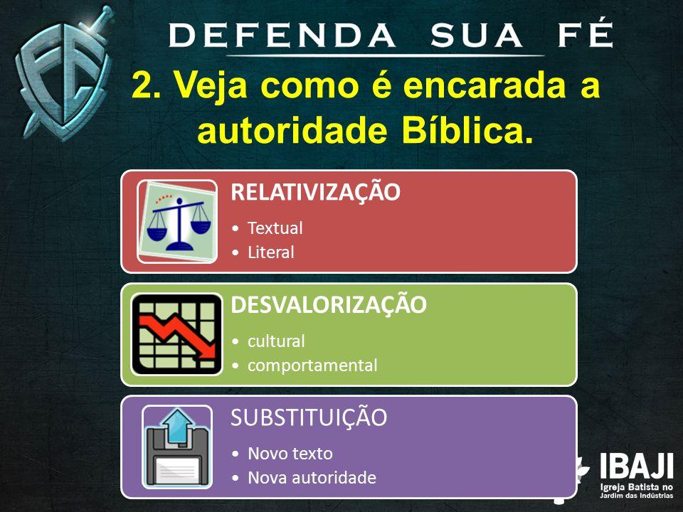 2.Veja como é encarada a autoridade Bíblica.