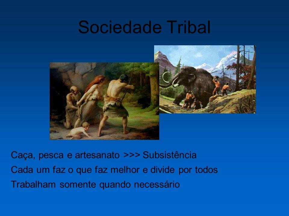 Sociedade Tribal Caça, pesca e artesanato >>> Subsistência Cada um faz o que faz melhor e divide por todos Trabalham somente quando necessário