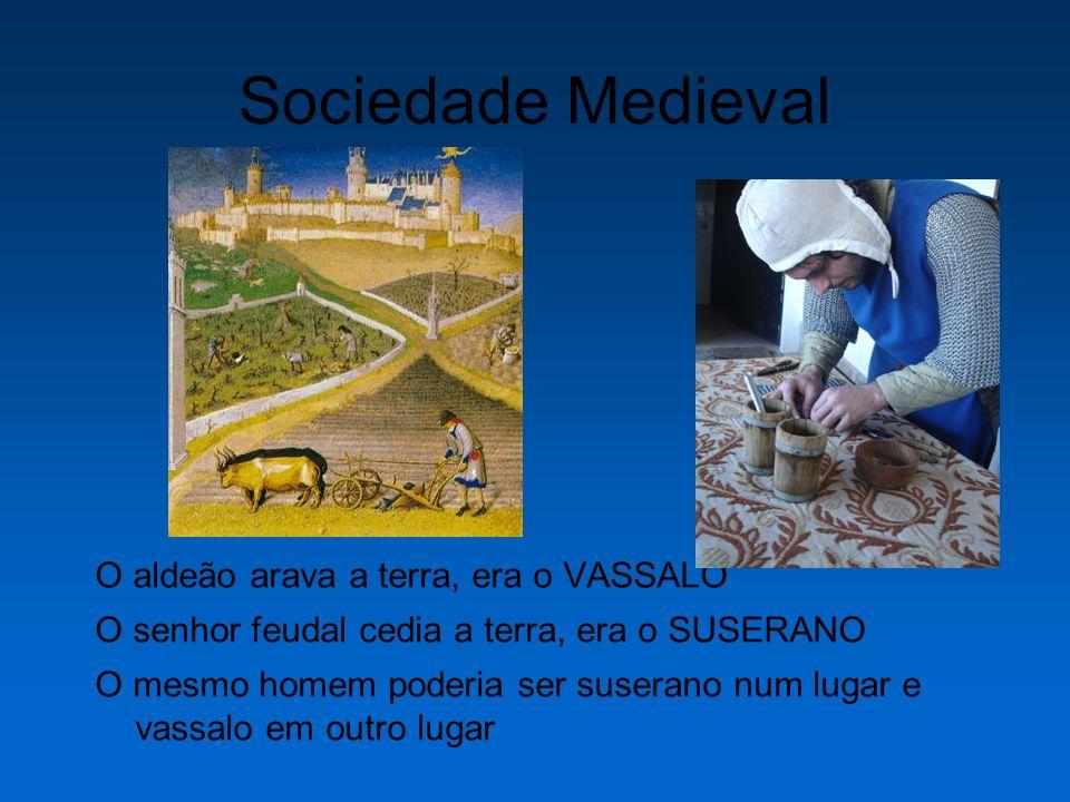 Sociedade Medieval O aldeão arava a terra, era o VASSALO O senhor feudal cedia a terra, era o SUSERANO O mesmo homem poderia ser suserano num lugar e vassalo em outro lugar
