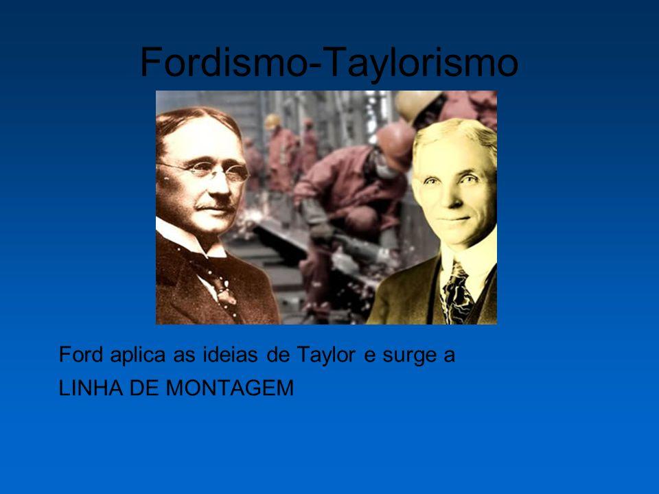 Fordismo-Taylorismo Ford aplica as ideias de Taylor e surge a LINHA DE MONTAGEM