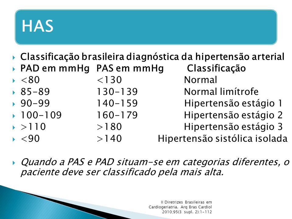  Classificação brasileira diagnóstica da hipertensão arterial  PAD em mmHg PAS em mmHg Classificação  <80 <130 Normal  85-89 130-139 Normal limítr