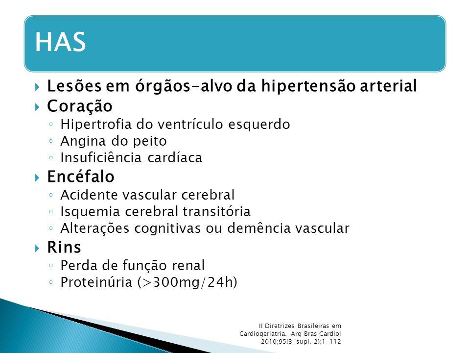  Lesões em órgãos-alvo da hipertensão arterial  Coração ◦ Hipertrofia do ventrículo esquerdo ◦ Angina do peito ◦ Insuficiência cardíaca  Encéfalo ◦