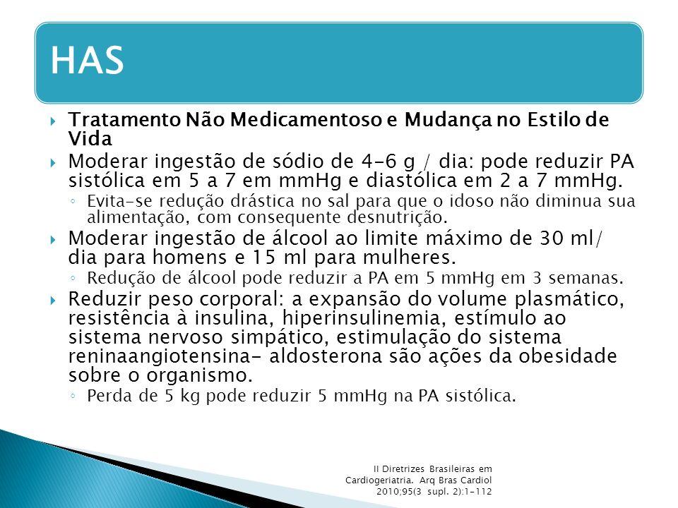  Tratamento Não Medicamentoso e Mudança no Estilo de Vida  Moderar ingestão de sódio de 4-6 g / dia: pode reduzir PA sistólica em 5 a 7 em mmHg e di