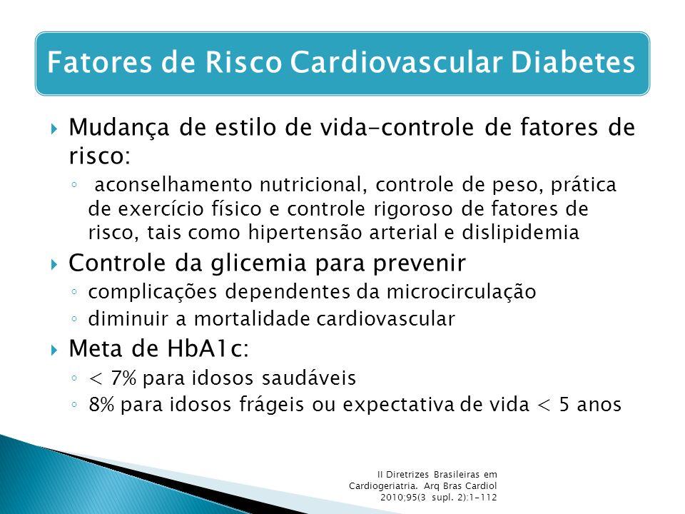  Mudança de estilo de vida-controle de fatores de risco: ◦ aconselhamento nutricional, controle de peso, prática de exercício físico e controle rigor