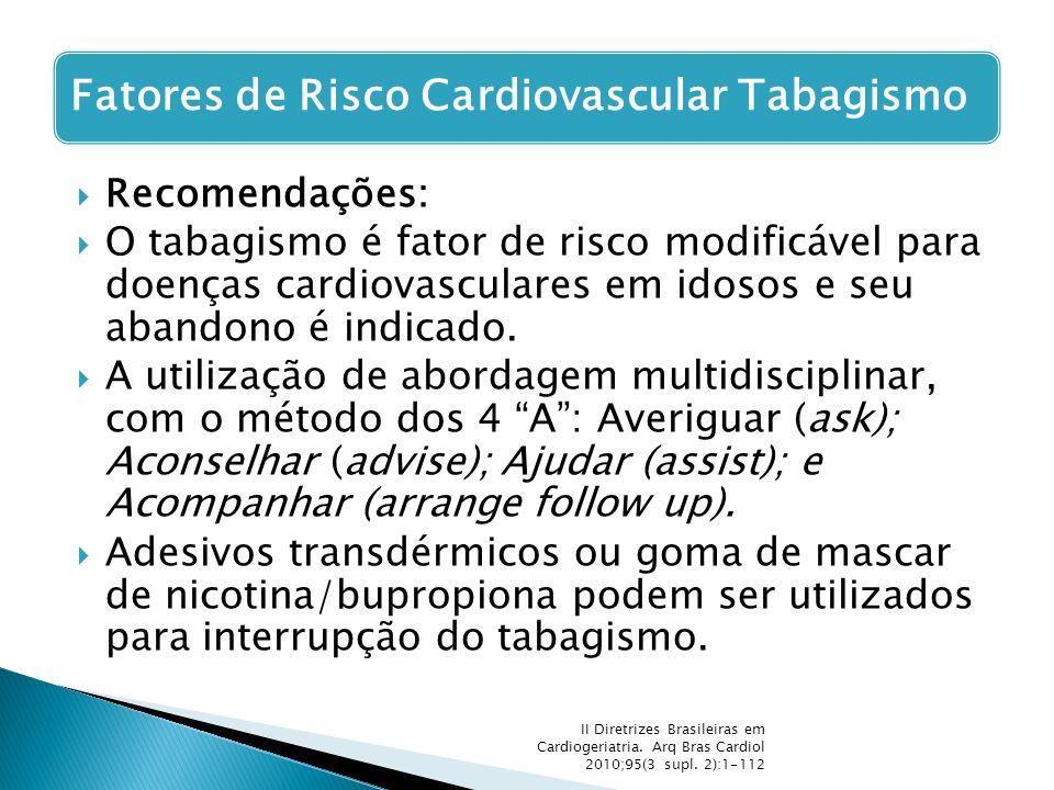  Recomendações:  O tabagismo é fator de risco modificável para doenças cardiovasculares em idosos e seu abandono é indicado.  A utilização de abord