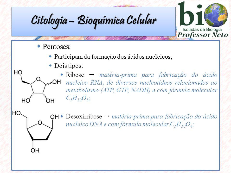  Pentoses:  Participam da formação dos ácidos nucleicos;  Dois tipos:  Ribose  matéria-prima para fabricação do ácido nucleico RNA, de diversos nucleotídeos relacionados ao metabolismo (ATP, GTP, NADH) e com fórmula molecular C 5 H 10 O 5 ;  Desoxirribose  matéria-prima para fabricação do ácido nucleico DNA e com fórmula molecular C 5 H 10 O 4 ; Citologia – Bioquímica Celular