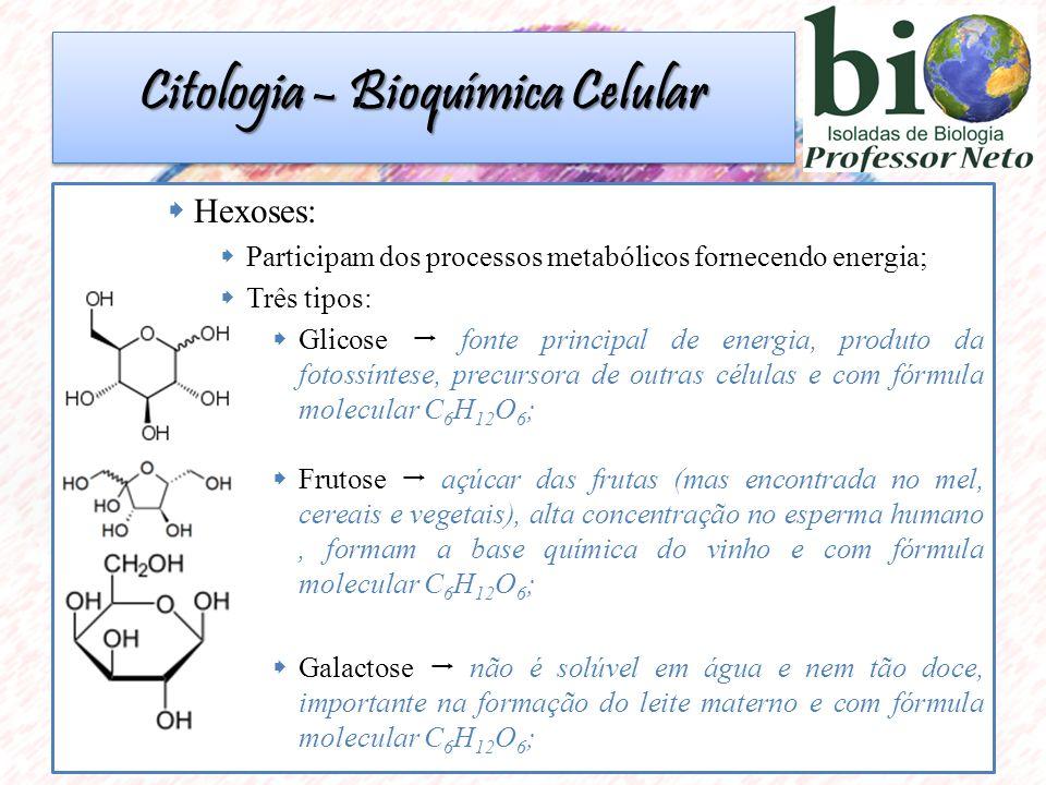  Hexoses:  Participam dos processos metabólicos fornecendo energia;  Três tipos:  Glicose  fonte principal de energia, produto da fotossíntese, precursora de outras células e com fórmula molecular C 6 H 12 O 6 ;  Frutose  açúcar das frutas (mas encontrada no mel, cereais e vegetais), alta concentração no esperma humano, formam a base química do vinho e com fórmula molecular C 6 H 12 O 6 ;  Galactose  não é solúvel em água e nem tão doce, importante na formação do leite materno e com fórmula molecular C 6 H 12 O 6 ; Citologia – Bioquímica Celular