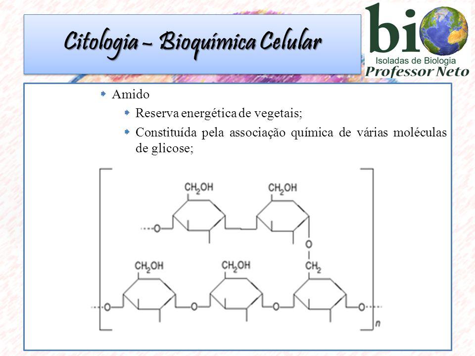 Amido  Reserva energética de vegetais;  Constituída pela associação química de várias moléculas de glicose; Citologia – Bioquímica Celular