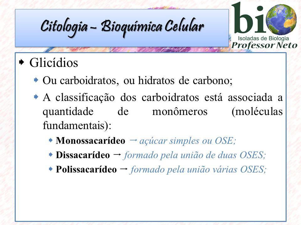  Glicídios  Ou carboidratos, ou hidratos de carbono;  A classificação dos carboidratos está associada a quantidade de monômeros (moléculas fundamentais):  Monossacarídeo  açúcar simples ou OSE;  Dissacarídeo  formado pela união de duas OSES;  Polissacarídeo  formado pela união várias OSES; Citologia – Bioquímica Celular