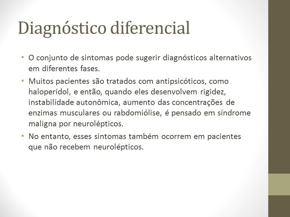 Diagnóstico diferencial O conjunto de sintomas pode sugerir diagnósticos alternativos em diferentes fases. Muitos pacientes são tratados com antipsicó
