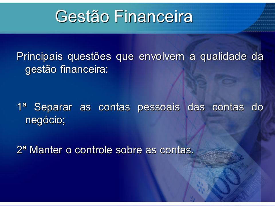 Gestão Financeira Principais questões que envolvem a qualidade da gestão financeira: 1ª Separar as contas pessoais das contas do negócio; 2ª Manter o controle sobre as contas.