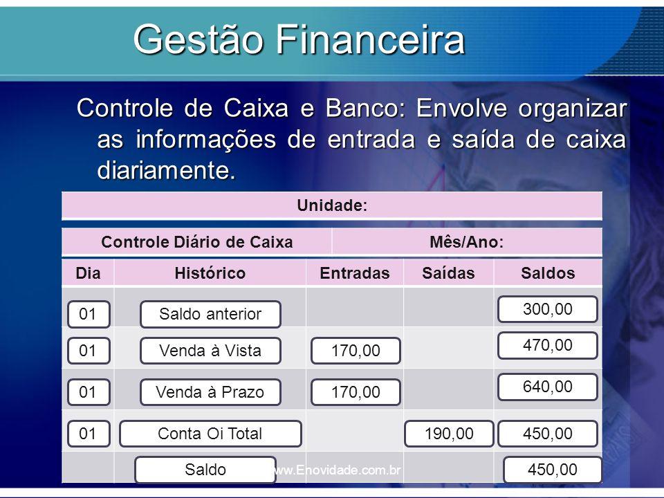 Gestão Financeira Controle de Caixa e Banco: Envolve organizar as informações de entrada e saída de caixa diariamente.