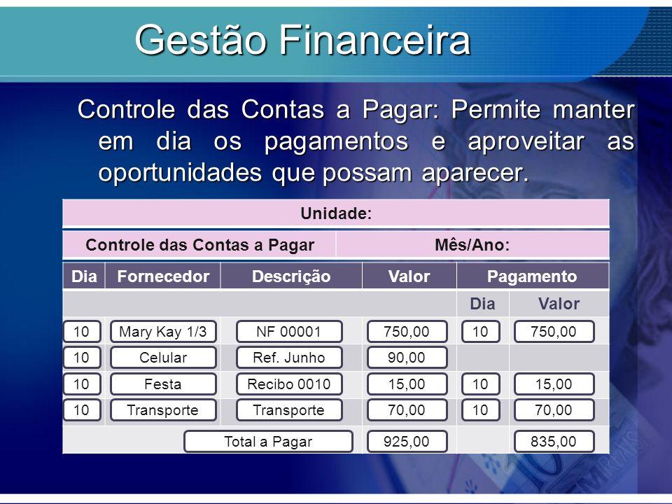 Gestão Financeira Controle das Contas a Pagar: Permite manter em dia os pagamentos e aproveitar as oportunidades que possam aparecer.