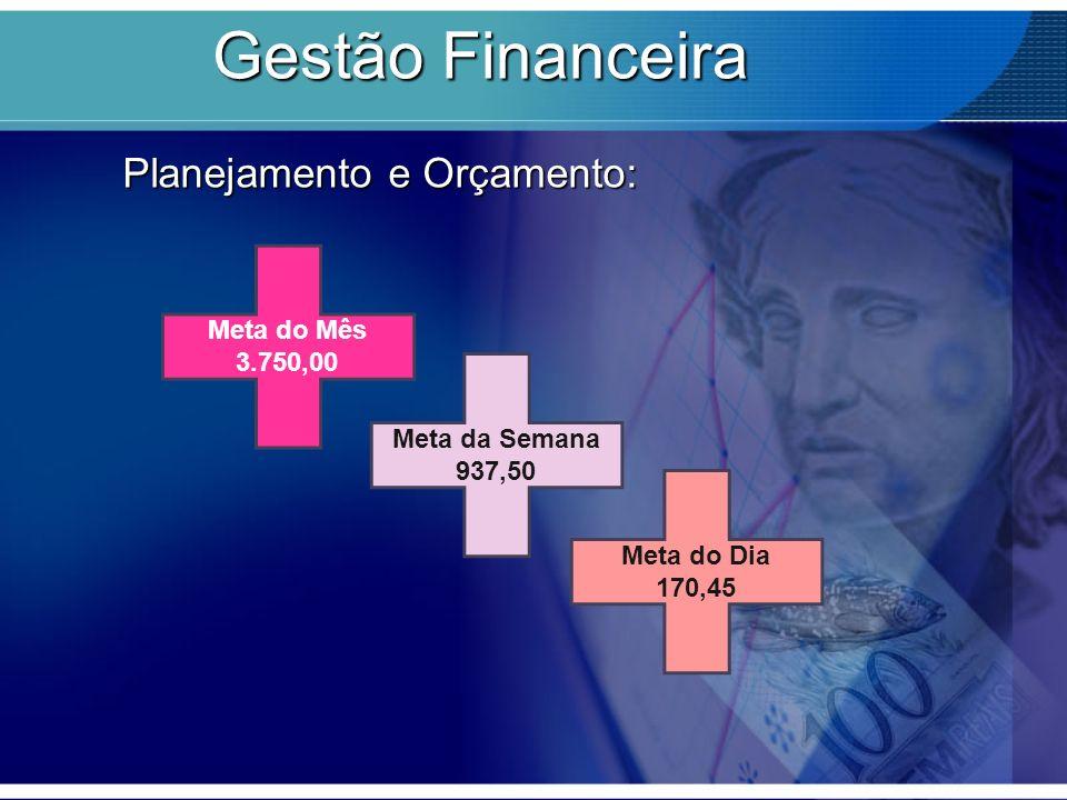 Gestão Financeira Planejamento e Orçamento: Meta do Mês 3.750,00 Meta da Semana 937,50 Meta do Dia 170,45