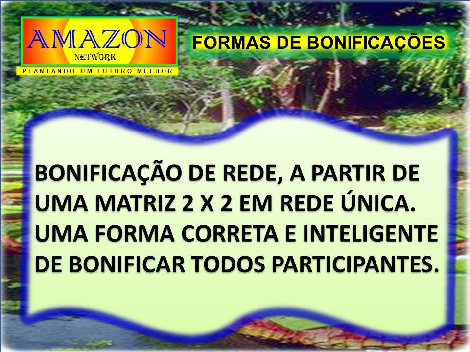 FORMAS DE BONIFICAÇÕES BONIFICAÇÃO DE REDE, A PARTIR DE UMA MATRIZ 2 X 2 EM REDE ÚNICA. UMA FORMA CORRETA E INTELIGENTE DE BONIFICAR TODOS PARTICIPANT