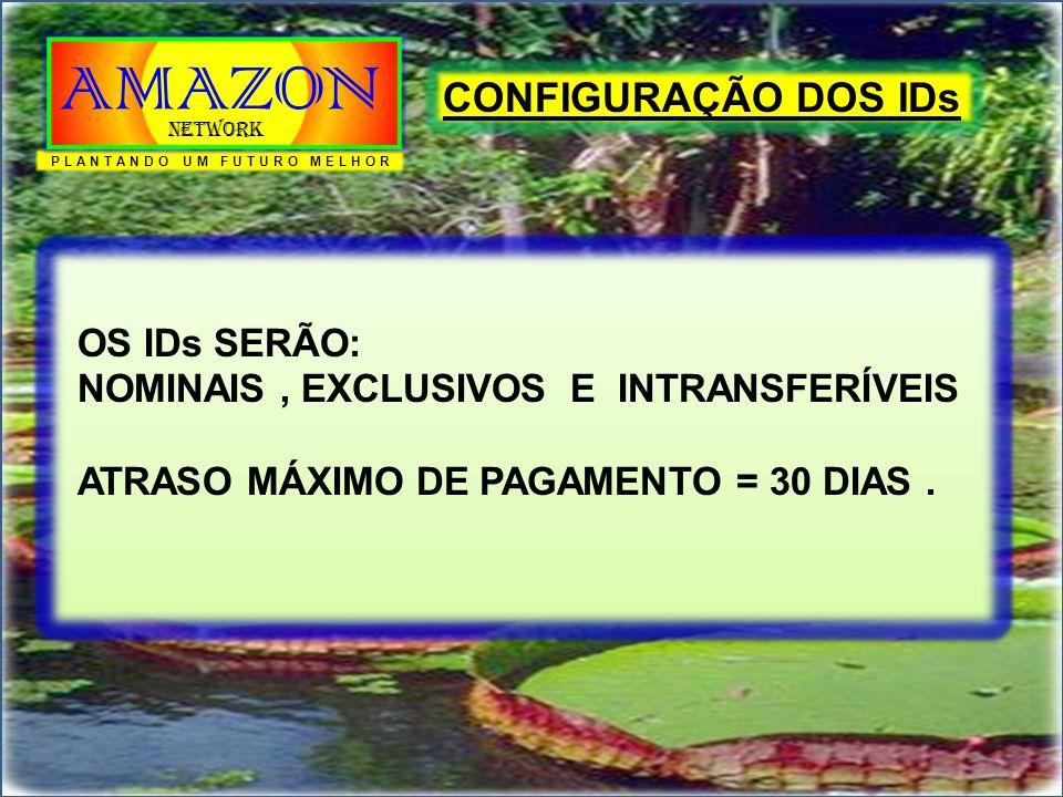 CONFIGURAÇÃO DOS IDs OS IDs SERÃO: NOMINAIS, EXCLUSIVOS E INTRANSFERÍVEIS ATRASO MÁXIMO DE PAGAMENTO = 30 DIAS. PLANTANDO UM FUTURO MELHOR AMAZON Netw