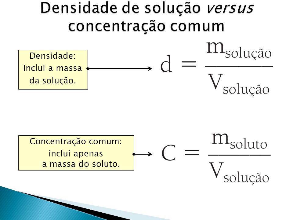 Concentração comum: inclui apenas a massa do soluto. Densidade: inclui a massa da solução.