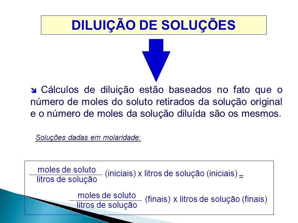 DILUIÇÃO DE SOLUÇÕES  Cálculos de diluição estão baseados no fato que o número de moles do soluto retirados da solução original e o número de moles d