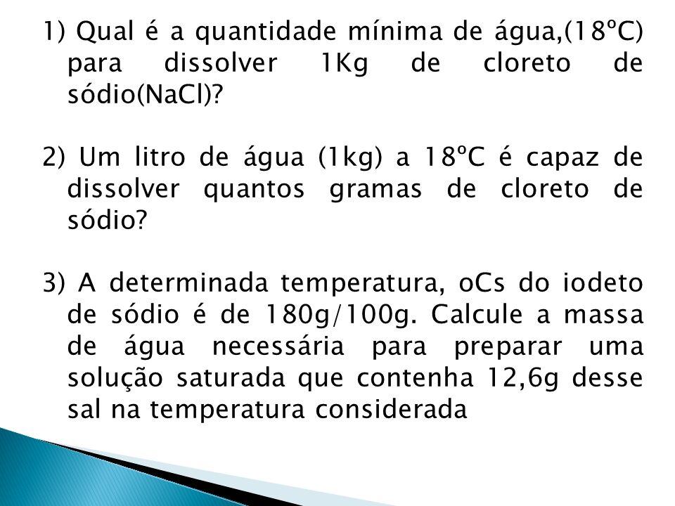 1) Qual é a quantidade mínima de água,(18ºC) para dissolver 1Kg de cloreto de sódio(NaCl)? 2) Um litro de água (1kg) a 18ºC é capaz de dissolver quant