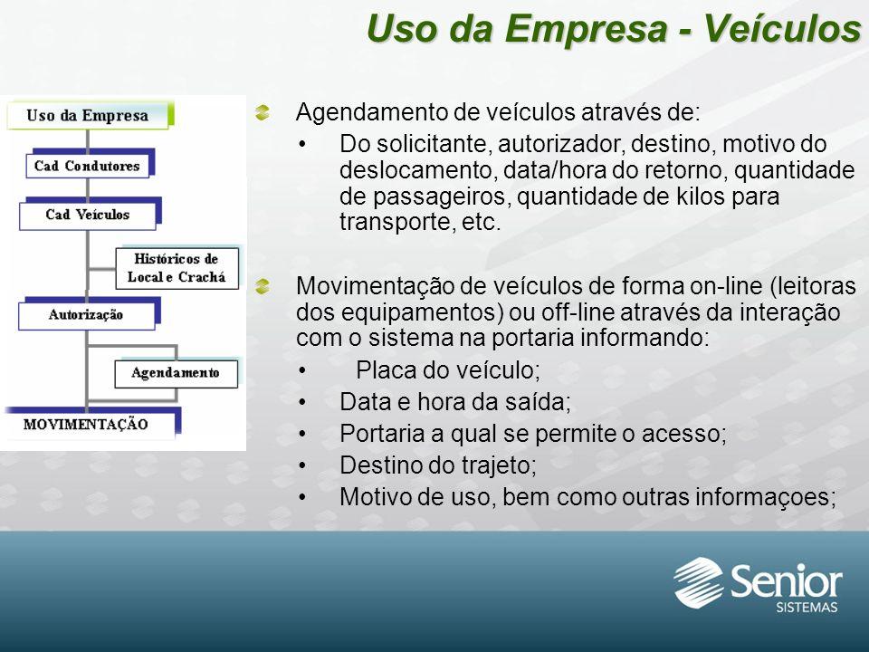 Uso da Empresa - Veículos Agendamento de veículos através de: Do solicitante, autorizador, destino, motivo do deslocamento, data/hora do retorno, quan