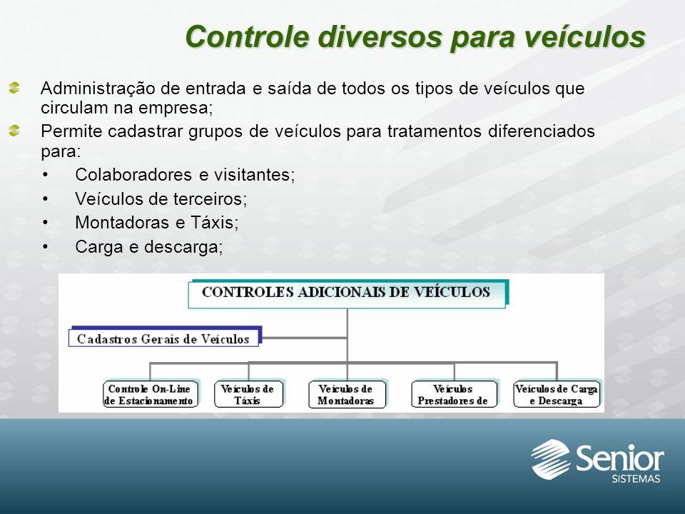 Controle diversos para veículos Administração de entrada e saída de todos os tipos de veículos que circulam na empresa; Permite cadastrar grupos de ve
