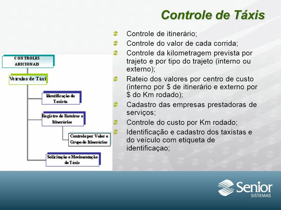 Controle de Táxis Controle de itinerário; Controle do valor de cada corrida; Controle da kilometragem prevista por trajeto e por tipo do trajeto (inte