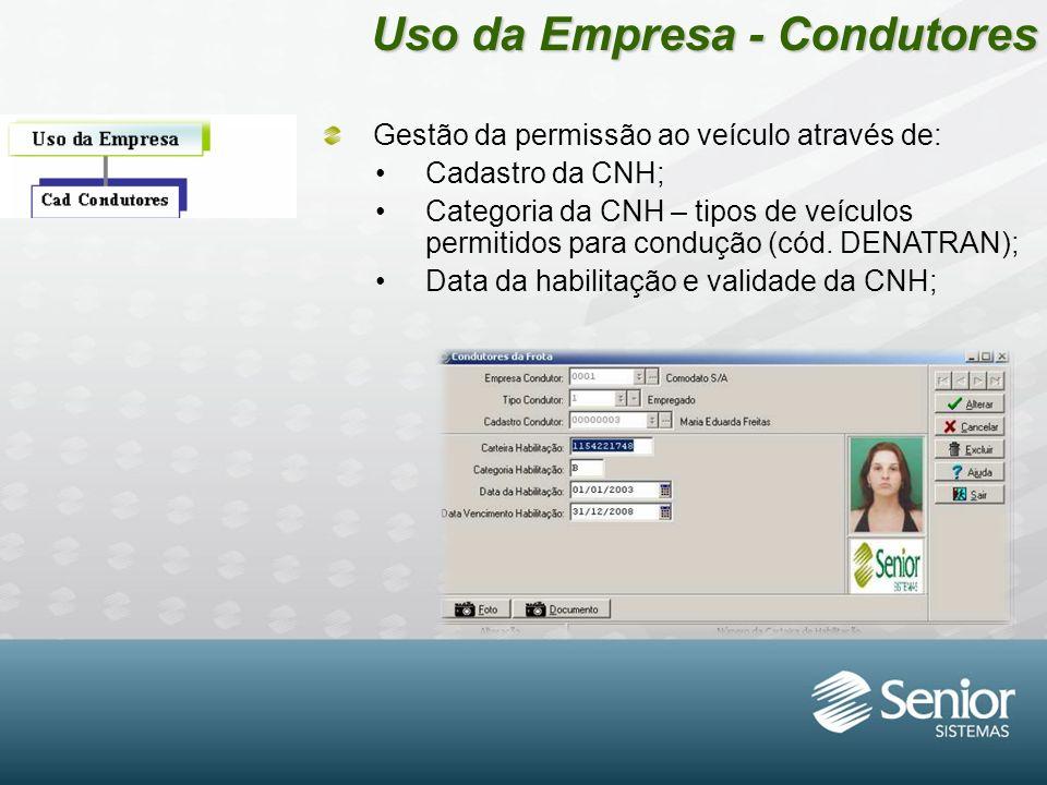Uso da Empresa - Condutores Gestão da permissão ao veículo através de: Cadastro da CNH; Categoria da CNH – tipos de veículos permitidos para condução