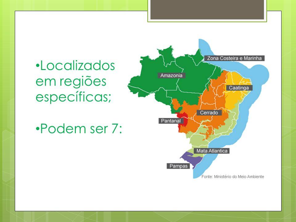 Localizados em regiões específicas; Podem ser 7: